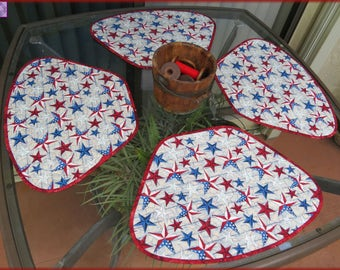 Patriotic Americana Stars on Wood Quilted Placemats 446