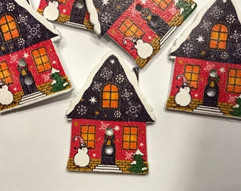 5 wood winter theme house buttons, 25 x 35 mm (B9)