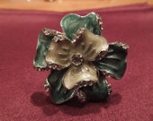 Vintage Costume Ring, Turquoise and Green Enamel Flower with Rhinestones, Size 8