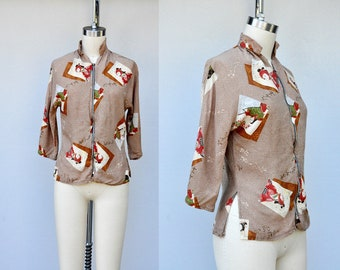 40s Shirt - 40s Blouse - ASIAN Print - Novelty Print Blouse Shirt - Rayon Shirt - Zip Up Shirt Blouse - Homemade Vintage - 40s 50s size S