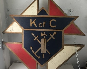 Vintage hand-painted Knights of Columbus sign
