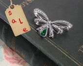 "Avon ""Birthstone Bow""  Brooch Pin May Birthstone Emerald Green - Vintage 1994"