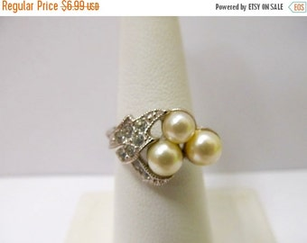On Sale AVON Faux Pearl Rhinestone Ring Item K # 863