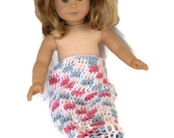Doll Mermaid Tail, 18 Inch Doll Mermaid Blanket, Doll Clothes, Crochet Mermaid Blanket For Dolls