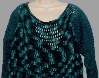 Teal Sweater, Plus Size Sweater, Pullover Sweater, Womans Top, Woman Sweater, Crochet Top, Teal Jumper, Plus Size Jumper, Crochet Sweater