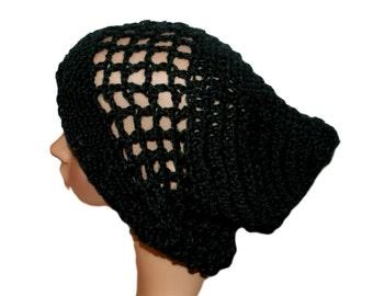 Woman Hat, Lightweight Beanie, Black Slouch Hat, Womens Rasta, Hipster Hat, Boho Style Hat, Oversize Beanie, Crochet Mesh Hat, Summer Hat