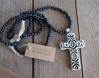 Black ceramic cross necklace with black wooden beads