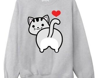 I Love Tabby Cat Butt Crewneck Sweater Sweatshirt