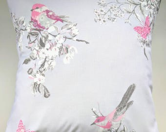 """Cushion Cover in Lilac Bird and Butterfly 14"""" 16"""" 18"""" 20"""""""