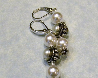 Bali Style Pearl and Silver Drop Earrings