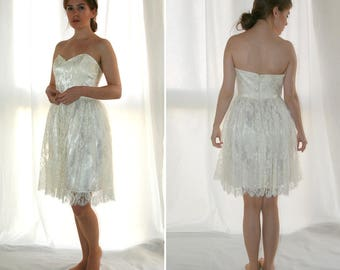 Wedding short corset dress, French lace, Single model, Vintage 1980's