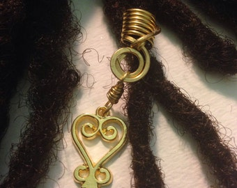 Sankofa Go Back and Reclaim Your Past African Adinkra Wire Wrapped Hair Bead Dread Locs Dreadlock Jewelry