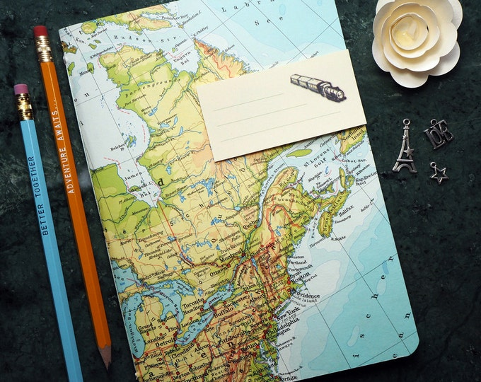 TRAVEL JOURNAL, Canada, New York, Quebec, Montreal, 5,7x8,2inch, 40 p. RULED travel journal, diary, notebook, atlas, map, vintage, upcycling