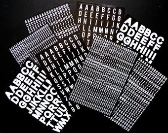 Alphabet Stickers black and white, B & W, white on black letters,  white letters, stickers , alphabet, numbers, alpha numeric, word stickers
