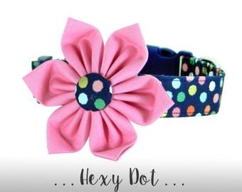 Navy Blue, Pink, and Gold Flower Dog Collar; Polka Dot Dog Collar: Hexy Dot