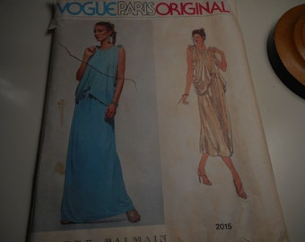 Vintage 1970's Vogue 2015 Paris Original Pierre Balmain Grecian Style Gown Sewing Pattern Size 10 Bust 32 1/2