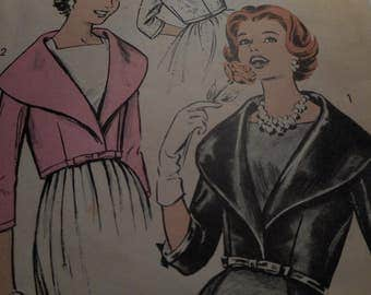 Vintage 1950's Advance 9015 Jacket Sewing Pattern, Size 12 Bust 32 or Size 14 Bust 34
