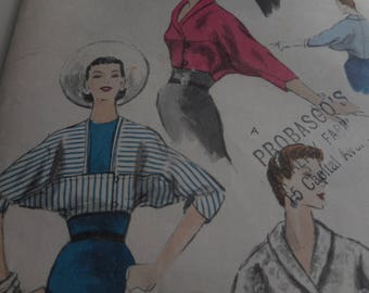 Vintage 1950's Vogue 8726 Jacket Sewing Pattern, Size 14 Bust 32