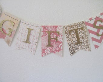Gift Banner, Gift Table Banner, Gifts Banner, Pink, Blush, Gold Banner