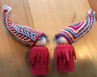 Rainbow Gnome, Ready to Ship, Waldorf Peg Dolls,  Small Handmade Waldorf Gnomes, Art Doll
