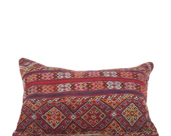 "18"" x 28"" Pillow Cover Kilim Pillow Vintage Kilim Pillow Hand Embroidered Pillow FAST SHIPMENT with ups or fedex - 10853"