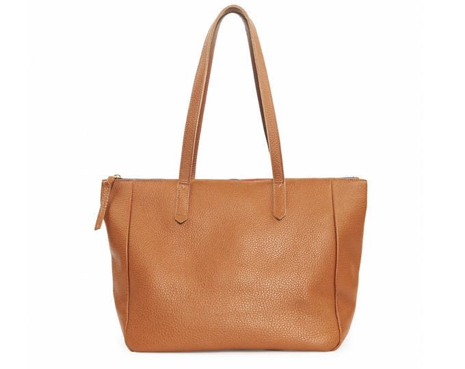 Large brown leather zip top bag, women tote bag, everyday shoulder bag