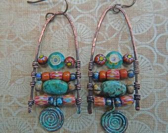 Rustic tribal Boho Chandelier/dangle  earrings Gypsey , trade beads , Nobium, Chevron beads beads Natural Turquoise Gemstone  Earrings