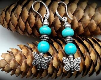 howlite earrings, turquoise boho chic earrings,hippy boho chic folk old style earrings, natural gemstones, handmade earrings, butterfly