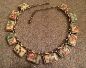 1940s CORO Goldtone Mardi Gras Thermoset Confetti Necklace