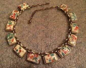 1940s CORO Goldtone Mardi Gras Thermoset Confetti Necklace