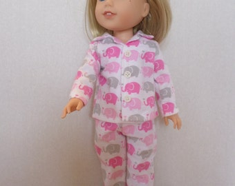 Pink Elephant Pajamas/  Sleepwear  American made to fit 14 1/2 inch Wellie Wisher Girl  Dolls