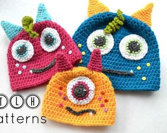 Crochet monster hat pattern, crochet hat pattern, baby hat pattern, monster hat, 6 sizes- newborn to adult, Pattern No. 35
