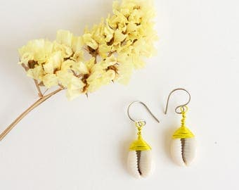 yellow earrings · cowrie shell earrings · everyday earrings · dangle earrings · sensitive ears earrings · cowrie earrings · tribal earrings