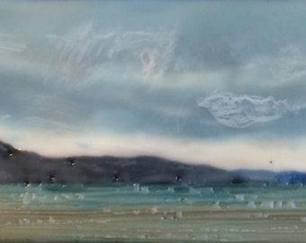 """bliss 3.5 """"x 6.5"""" - original encaustic painting peaceful, impressionist, landscape, seascape, clouds, blue sky, blue water"""