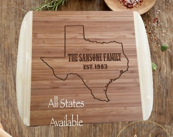 STATE Personalized Cutting Board-Monogram Cutting Board-Housewarming Gift-Personalized