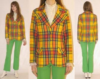 Vtg 70s Bobbie Brooks Whimsical Plaid Jacket
