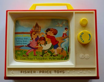 vintage Fisher Price toy: two tunes TV picture stories music box