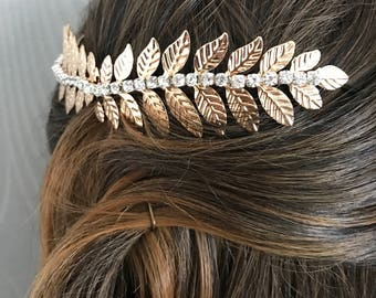 hair vine , gold leaf wedding hair vine , wedding headpiece , gold vine , gold bridal headpiece - leaf headdress - leaf comb