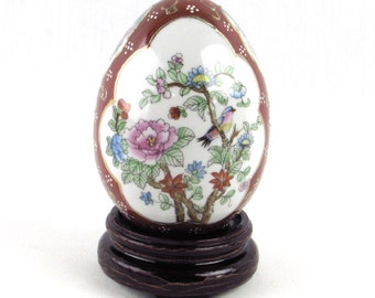 Porcelain Egg on Wooden Stand - Vintage Oriental - Asian - Exotic Home Decor