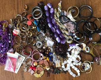 Junk Jewelry Lot Destash-almost 4 lbs-some broken, most wearable or use for crafting, repairs, mixed media