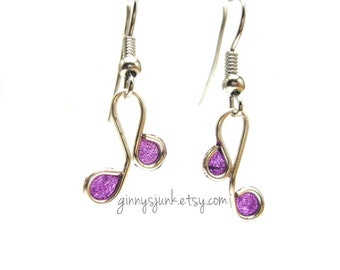 Silver & Purple Earrings - Wire and Paper