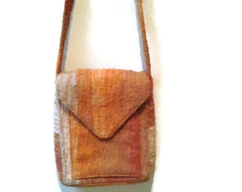Orange purse hand loomed Au Terroir made in Quebec,  Canada