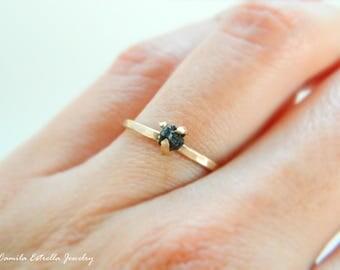 Black Diamond Ring, Engagement Ring, Promise Ring, Raw Diamond Ring, Diamond Ring, Anniversary Ring, Rough Black Diamond Engagement Ring