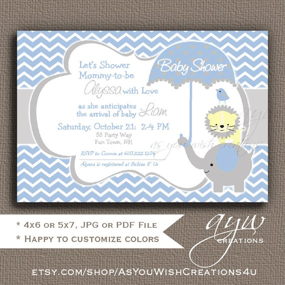 Elephant Baby Shower Invitation Boy Invitation Elephant ...