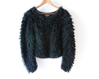 Vintage Black Fringe Fuzzy Sweater / Cropped Black Sweater / Jumper / Small