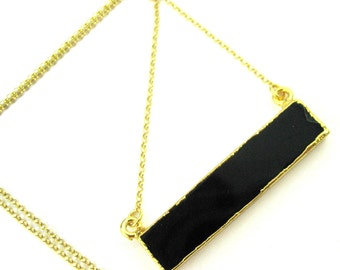 Black Agate Bar Pendant Necklace -Long Horizontal Bar and Gold Necklace - Gold plated Sterling Silver Necklace Chain - SKU: 692111