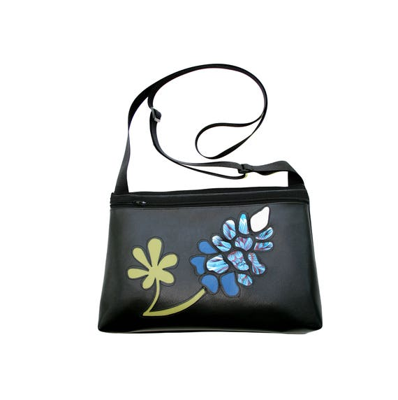 Bluebonnet, wildflower, Texas, black vinyl, medium crossbody, vegan leather, zipper top