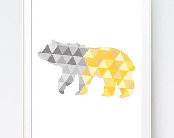 Bear Art, Yellow and Gray Geometric Bear Print,  Geometric Bear Wall Art, Bear Triangle Geometric Art, Golds and Greys Art, INSTANT DOWNLOAD