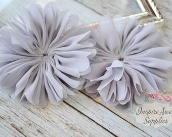 Grey Ballerina chiffon Flowers- Set of 2 DIY fabric flowers, wholesale flowers, chiffon flowers, supply flowers,headband supply