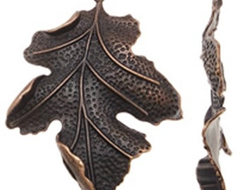 2pc large 67x51mm antique copper  finish leaf pendants-9042A